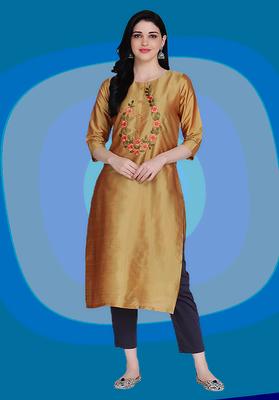 Yellow embroidered silk heavy-work-kurtis