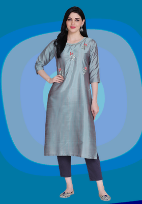 Blue embroidered silk heavy-work-kurtis
