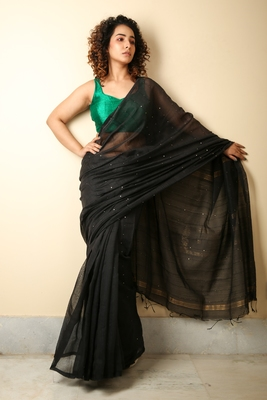 Black woven blended cotton saree with blouse