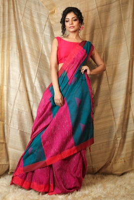 Ruby woven cotton saree with blouse