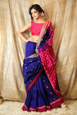 Royal blue woven blended cotton saree with blouse