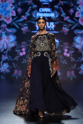 Charu Parashar Navy blue printed long front open cape with hand embellished dhoti style dress