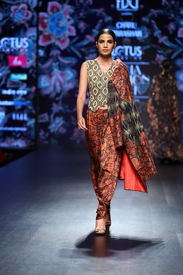 Charu Parashar Navy blue printed front open jacket with hand embellished top and printed dhoti