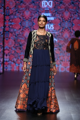 Charu Parashar Navy blue printed long jacket with navy blue printed gown