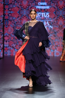 Charu Parashar Navy blue hand embellished jacket style net handwork blouse and flare dress