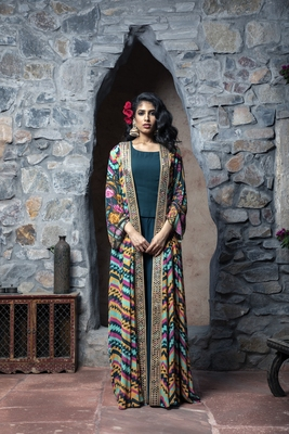 Charu Parashar Teal printed front open long cape with top and sharara