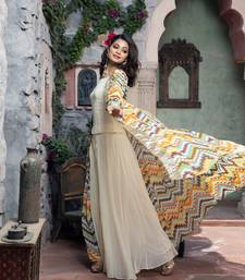 Charu Parashar Cream printed front open long cape with top and sharara