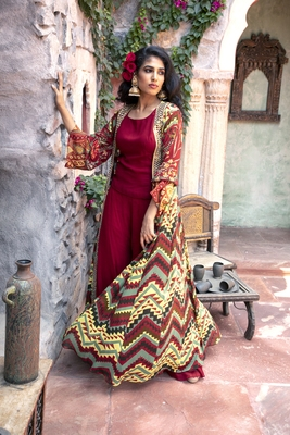 Charu Parashar Red printed front open long cape with top and sharara