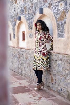 Charu Parashar Cream printed front open jacket