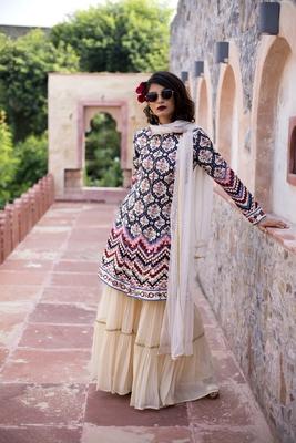 Charu Parashar Cream printed front open jacket with sharara and dupatta