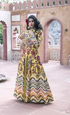 Charu Parashar Yellow printed front open long jacket with sharara