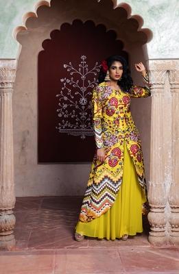 Charu Parashar Yellow printed U shape front open cape with sharara