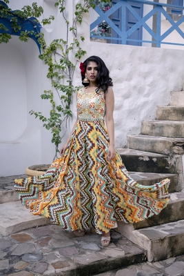 Charu Parashar Yellow printed dress