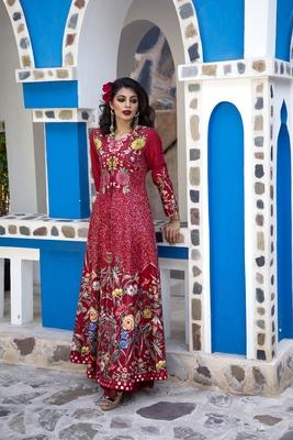 Charu Parashar Red printed long jacket with sharara