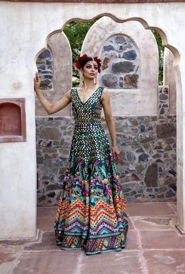 Charu Parashar Teal printed long sleeveless gown