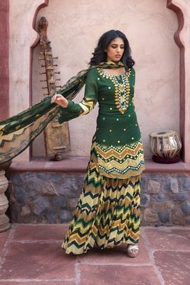Charu parashar Green printed flare sleeve kurta with printed sharara and dupatta