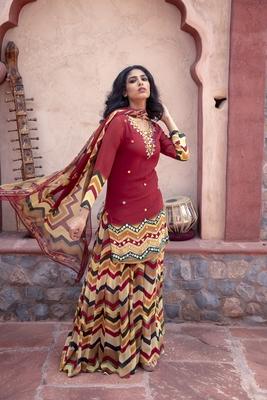 Charu parashar Red printed kurta with printed sharara and dupatta