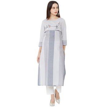 woven grey striped with floral embroidery and pearl work cotton casual kurti