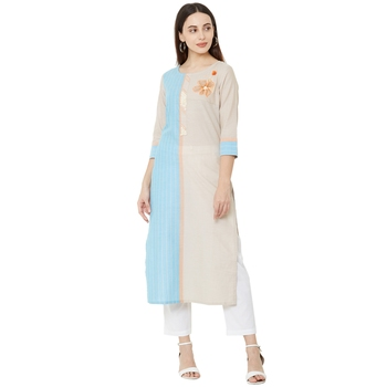 Solid Beige & Sky Blue woven striped with floral embroidery work cotton casual kurti