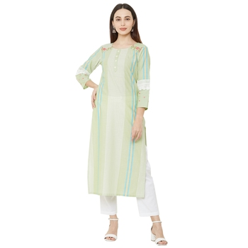 woven pista striped with floral embroidery cotton casual kurti