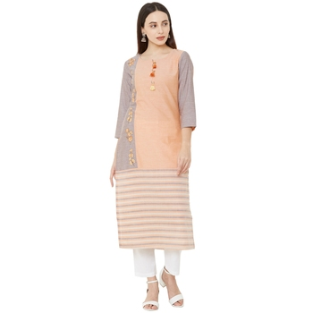 woven orange & grey solid and verical striped with floral embroidery cotton casual kurti