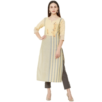 Yellow & Grey woven striped with floral embroidery cotton casual kurti