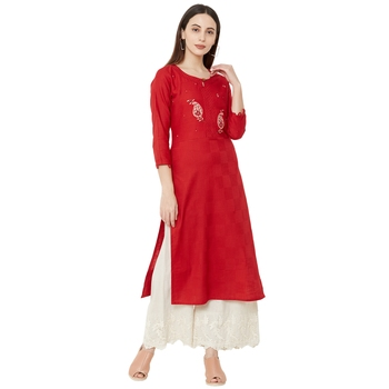 Red color cotton casual kurti with beeds & embroidery work