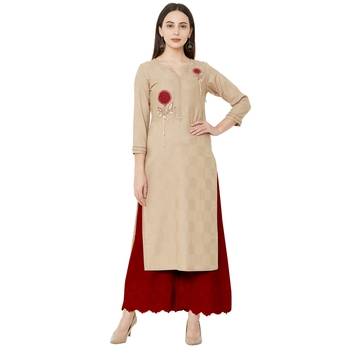 Beige color cotton casual kurti with beeds & embroidery work