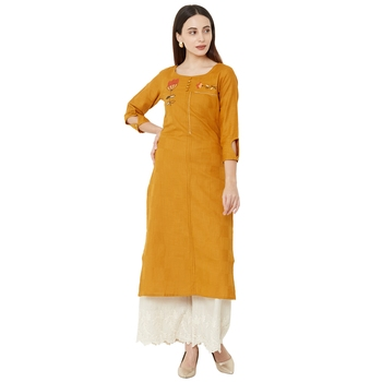 mustard color floral embroidered round neck cotton casual kurti