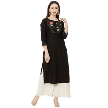 black cotton casual kurti with floral embroidered patch