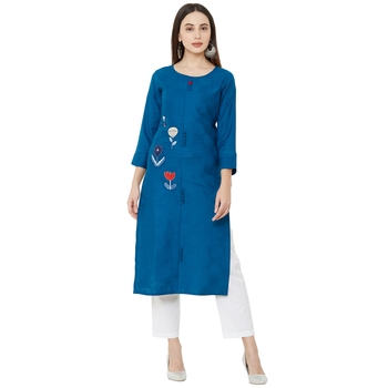 blue cotton casual round neck kurti with floral embroidery