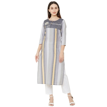 grey 100% cotton woven striped casual round neck kurti with floral embroidery and beeds work
