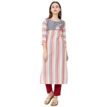 multicolor cotton woven striped casual straight kurti with floral embroidery