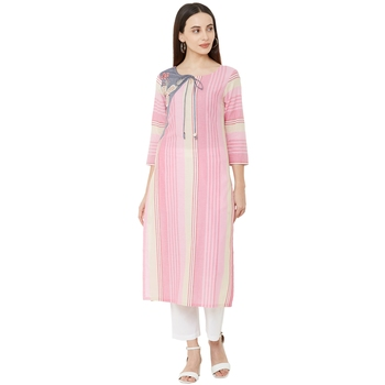 pink cotton woven striped casual straight kurti with floral embroidery
