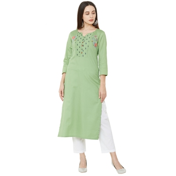 3/4th sleeves pista casual kurti with floral embroidery & floral print