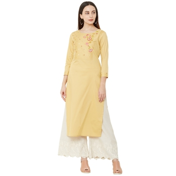 yellow cotton casual kurti having 3/4th sleeves with floral emboridery