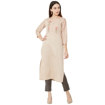beige casual cotton floral emboridered kurti with 3/4th sleeves