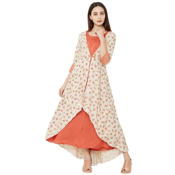 cream and orange casual cotton jacket style embelleshed anarkali kurti with 3/4th sleeves