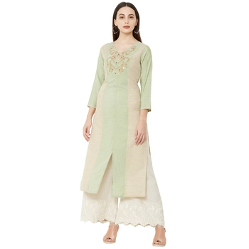 cream and pista casual cotton floral emboridered straight kurti with 3/4th sleeves