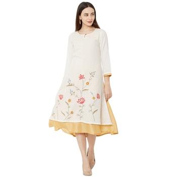 cream casual cotton anarkali kurti having floral emboridery