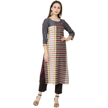 multicolor casual cotton straight kurti with floral emboridery