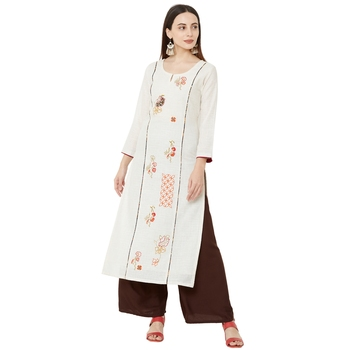 casual cotton straight cream emboridered long kurti