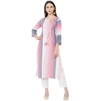 casual cotton woven embelleshed pink straight long kurti