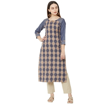 multicolored  casual cotton woven embelleshed straight kurti