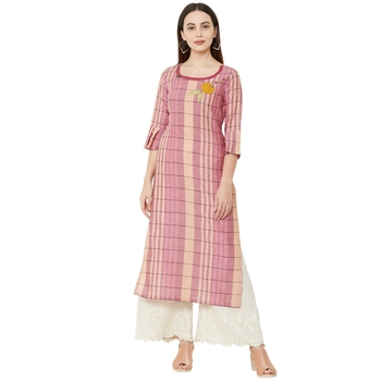 purple cotton woven striped straight long kurti with embroidery