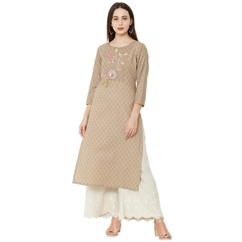cotton woven beige color casual kurti with 3/4th sleeves having floral embroidery