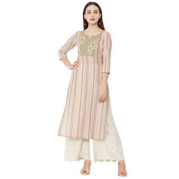 cotton woven multicolored casual kurti having floral thread-work with 3/4th sleeves