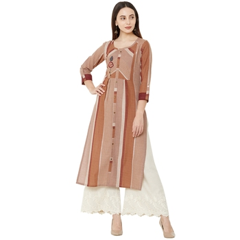cotton woven brown round neck casual kurti with floral embroidery patch on yoke.