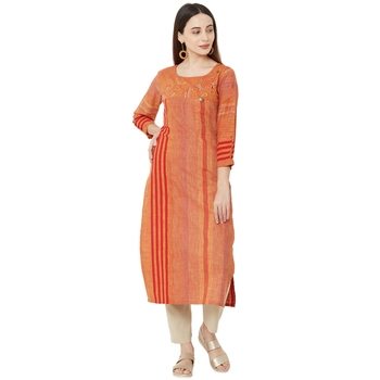 orange color cotton woven casual kurti with 3/4th sleeves and floral embroidery.