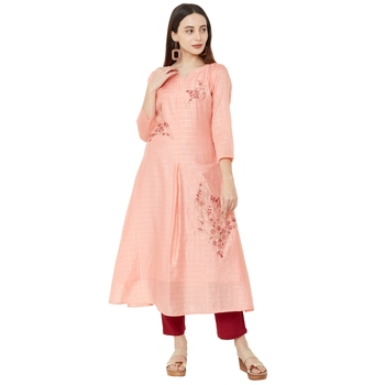 semi-casual wear pink color A-Line kurti with floral embroidery